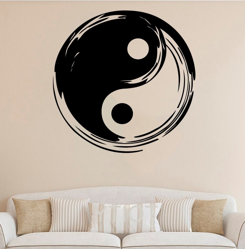 Recent Yin Yang Wall Sticker Symbol Vinyl Decal Chinese Taiji Art Decor Pertaining To Yin Yang Wall Art (View 5 of 15)