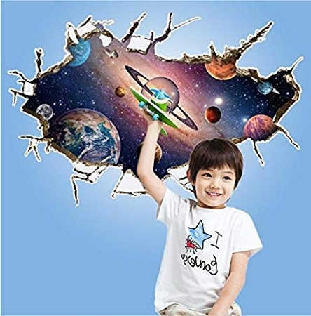 Recent Zooarts 3D Outer Space Star Wall Stickers Removable Wall Decals Art Regarding Space 3D Vinyl Wall Art (View 10 of 15)