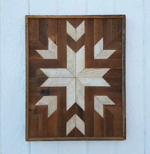 Reclaimed Wood Wall Art, Decor, Quilt Block Design, Lath Art, Star Inside Trendy Natural Wood Wall Art (View 4 of 15)