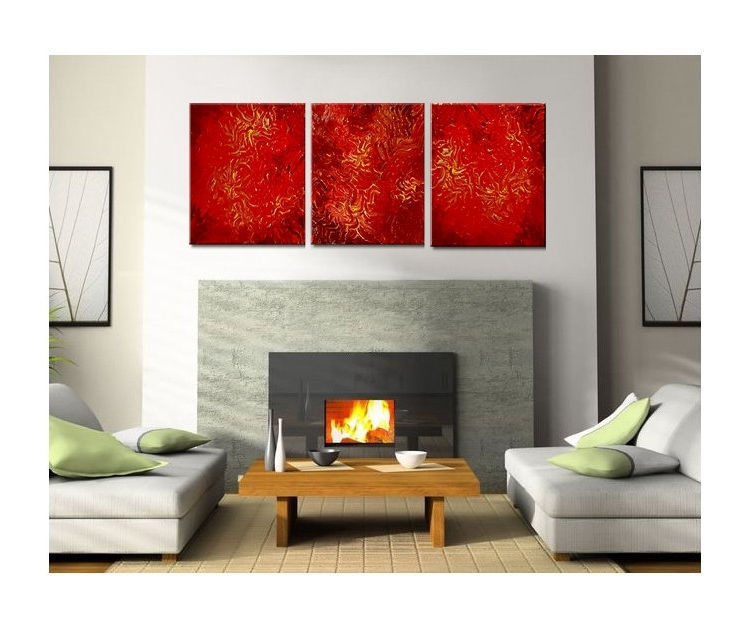 Red Abstract Painting Textured Contemporary Wall Art Vibrant Inside Recent Vibrant Wall Art (View 7 of 15)