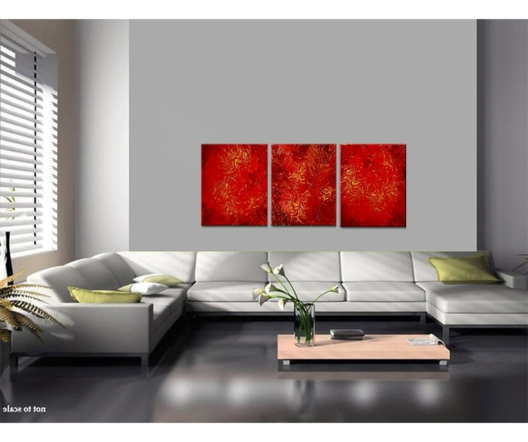 Red Abstract Painting Textured Contemporary Wall Art Vibrant Intended For Well Known Vibrant Wall Art (View 7 of 15)