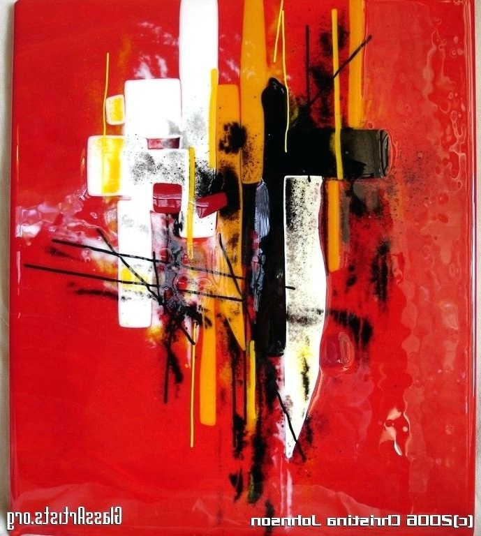 Red Abstract Wall Art Red Abstract Wall Panel Fused Glass Orange And With Latest Abstract Fused Glass Wall Art (View 14 of 15)