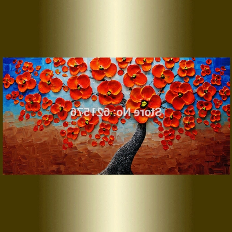 Red And Turquoise Wall Art For Most Popular Hand Painted Modern Home Decoration Blue Brown Red Flower Tree Wall (View 4 of 15)