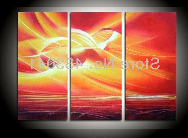 Red And Yellow Wall Art For Well Known Hand Painted 3 Piece Wall Art Set Modern Abstract Red Yellow Line (View 7 of 15)