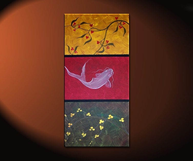 Red And Yellow Wall Art Inside Recent Zen Koi Fish Painting Chinese Red Green Yellow Wall Art Style (View 8 of 15)