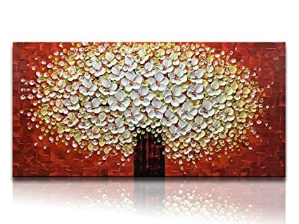 Red And Yellow Wall Art Within Preferred Amazon: Desihum Handmade Art 3D Wall Art On Canvas Elegant White (View 11 of 15)