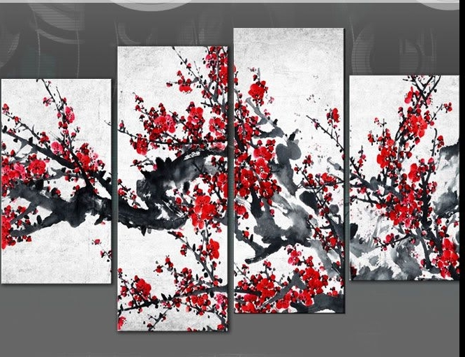 Red Blossom Tree Extra Large Canvas Wall Art On Black Grey White 60 With Preferred Black White And Red Wall Art (View 4 of 15)