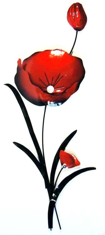 Red Flower Metal Wall Art For Latest Floral Metal Wall Art Floral Metal Wall Art Inspirational Red Flower (View 13 of 15)