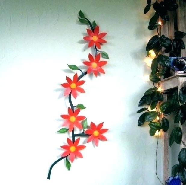Red Flower Metal Wall Art Metal Wall Flowers Metal Garden Art Pertaining To Famous Red Flower Metal Wall Art (View 14 of 15)