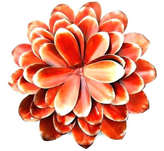 Red Flower Metal Wall Art Regarding Famous Red Flower Metal Wall Art Metal Floral Wall Art Lotus Flower Metal (View 10 of 15)