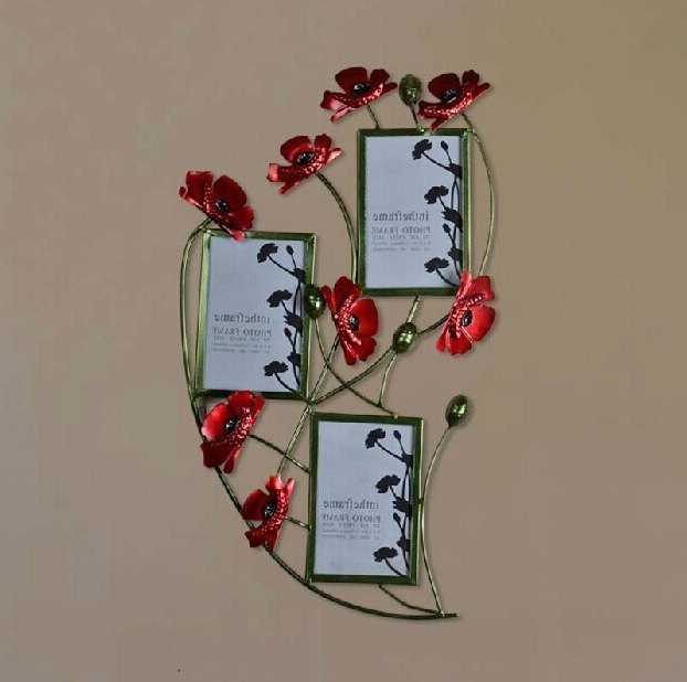 Red Flower Metal Wall Art Within Preferred Modern Home Decoration Metal Wall Art Hand Made Red Popy Flower (View 13 of 15)