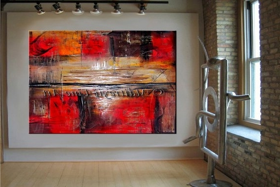 Red Horizon Abstract Painting On Canvas Modern Art Painting (View 9 of 15)