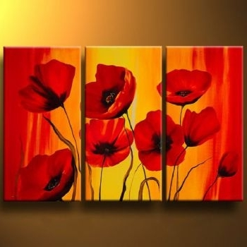 Red Poppy Canvas Wall Art Intended For Most Recent Red Poppies Iii Modern Canvas Art Wall Decor Floral Oil Painting (View 15 of 15)