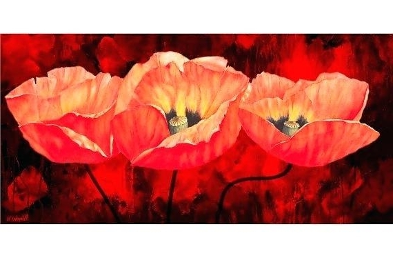 Red Poppy Canvas Wall Art With Preferred Red Poppy Canvas Wall Art Large Wall Art Canvas Prints Flowers Art (View 14 of 15)