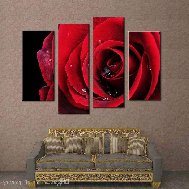 Red Rose Wall Art Inside Most Recent Canvas Paintings Flower Paintings Beautiful Big Red Rose Flower Wall (View 13 of 15)