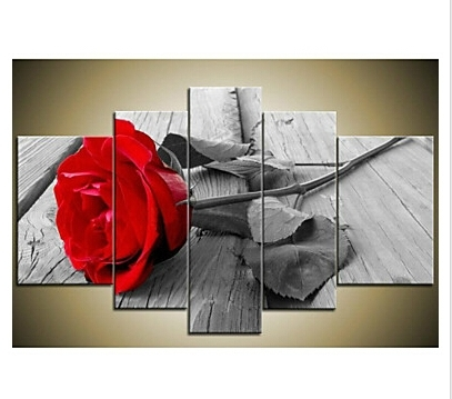 Red Rose Wall Art With Regard To Well Known Hand Painted Modern Beautiful Wall Art Grey Red Rose Canvas Oil (View 8 of 15)
