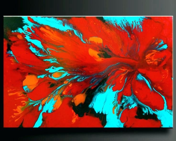 Red Wall Art Decor Red Wall Paintings Wall Art Decor Ideas Flowers Pertaining To Widely Used Red And Turquoise Wall Art (View 2 of 15)