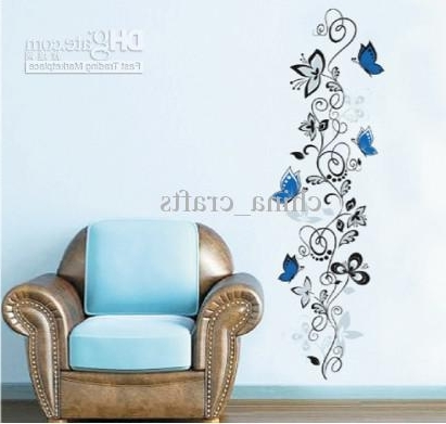 Removable Blue Butterflies And Vines Flower Wall Stickers Decals Within 2017 Butterflies Wall Art Stickers (View 9 of 15)