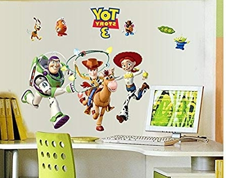 Revesun Toy Story Buzz Lightyear Kids Wall Sticker For Kids Room Throughout Latest Toy Story Wall Stickers (View 14 of 15)