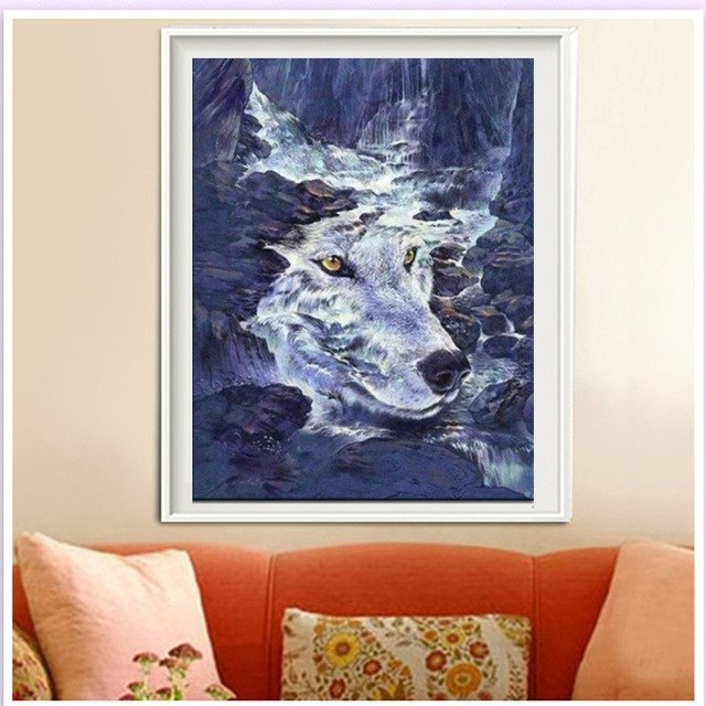 Rhinestone Painting Crystal Home Decor Diy Diamond Painting Throughout Recent Wolf 3D Wall Art (View 9 of 15)