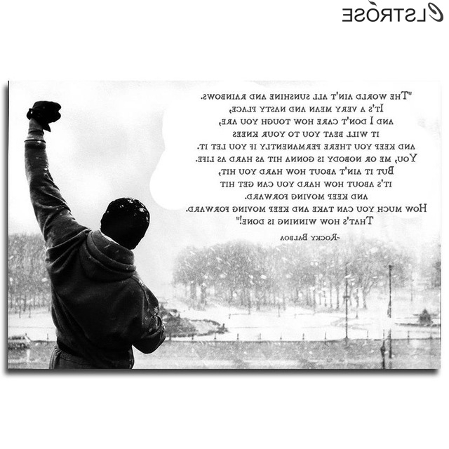 Rocky Balboa Wall Art Pertaining To Best And Newest Clstrose New Famous Rocky Balboa Motivational Quotes Art Canvas (View 3 of 15)