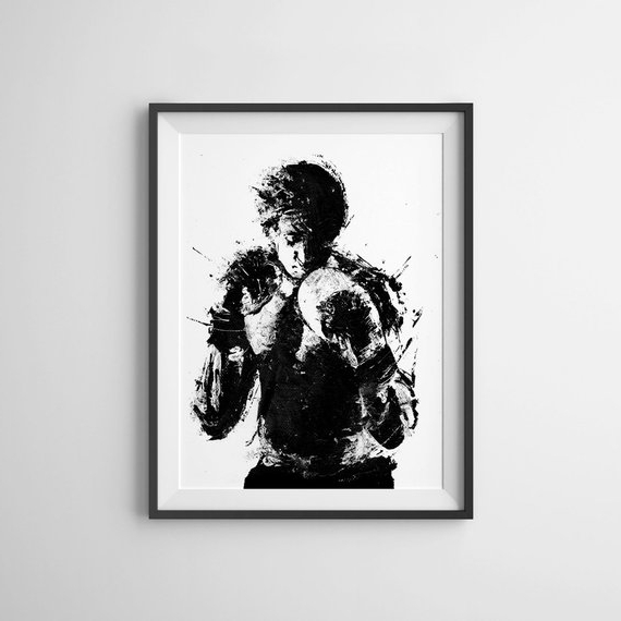 Rocky Balboa Wall Art Pertaining To Most Up To Date Rocky Movie Poster Art Print Black And White Art Boxing (View 14 of 15)