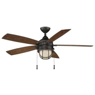 Rustic – Outdoor – Black – Ceiling Fans – Lighting – The Home Depot In Fashionable Rustic Outdoor Ceiling Fans With Lights (View 9 of 15)
