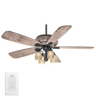 Rustic Outdoor Ceiling Fans For Famous Great Room – Rustic – Outdoor – Ceiling Fans With Lights – Ceiling (View 8 of 15)