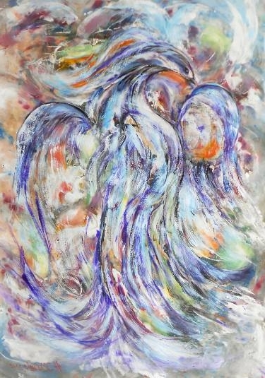 Saatchi Art: Abstract Blue Bird Happiness Colorful Painting Modern Pertaining To Most Recent Happiness Abstract Wall Art (View 12 of 15)