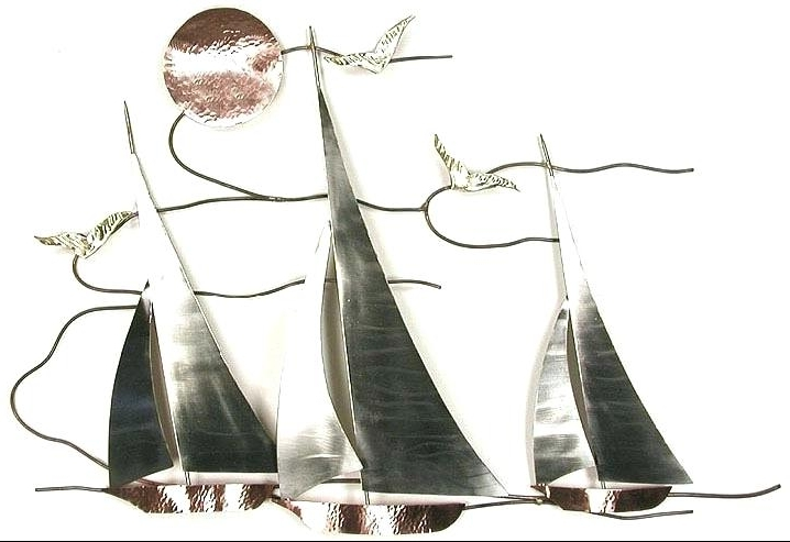 Sailboat Metal Wall Art Inside Newest Nautical Metal Wall Art Amazing Decoration Sailboat Metal Wall Art (View 12 of 15)