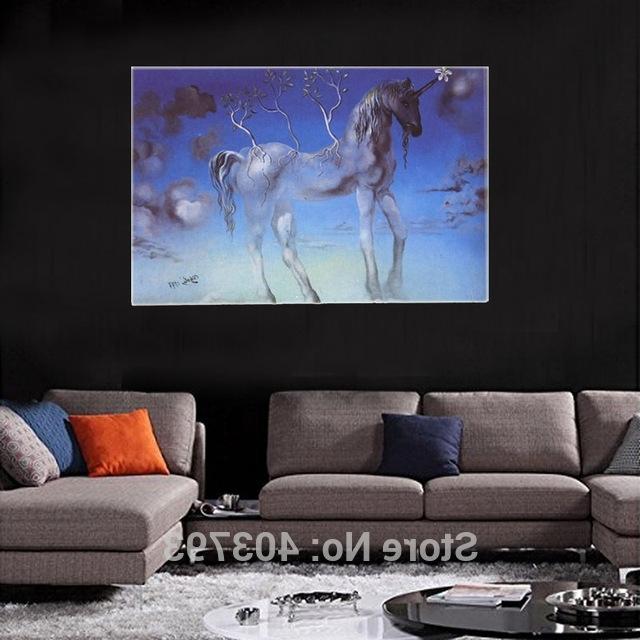 Salvador Dali Wall Art Regarding Most Popular Canvas Salvador Dali Unicorn Painters Wall Art Inch Art Hd Printed (View 11 of 15)