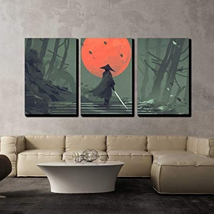 Samurai Wall Art Pertaining To Preferred Amazon: Wall26 – 3 Piece Canvas Wall Art – Illustration (View 6 of 15)
