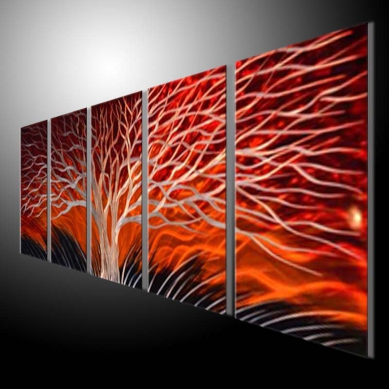 Sculpture Wall Red Tree Metal Painting Original Abstract Wall Art With Best And Newest Abstract Metal Wall Art Australia (View 13 of 15)