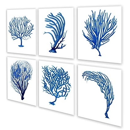 Sea Fan Wall Art In Famous Amazon: Blue Sea Fan / Sea Coral Beach Wall Art Decor Set Of (View 8 of 15)