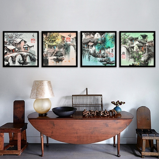 Seasonal Wall Art With Regard To Well Known Vintage Traditional Chinese Culture Oil Painting Seasonal Sight (View 10 of 15)