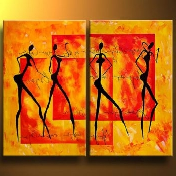 Sensual Dance Canvas Abstract Oil Painting Wall Art With Stretched In Most Popular Sensual Wall Art (View 8 of 15)