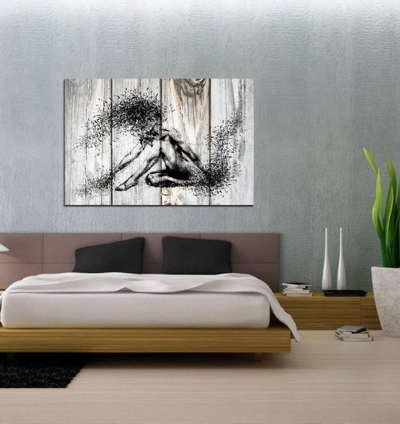Sensual Wall Art Pertaining To 2018 Canvas Art Sensual Bedroom Wall Decor Minimalist Abstract (View 9 of 15)