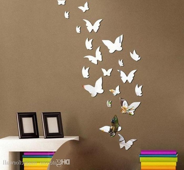 Set 3D Butterfly Mirror Effect Wall Decal Sticker Diy Home Throughout Most Popular 3D Effect Wall Art (View 10 of 15)