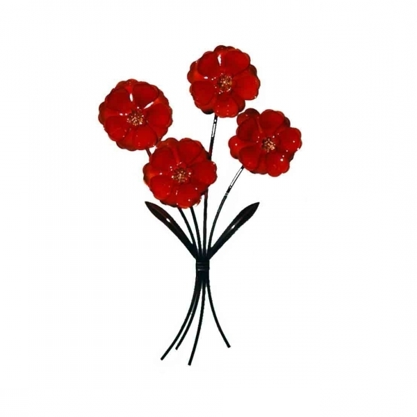 Set 4 Gloss Red Flowers Metal Wall Art In Newest Red Flower Metal Wall Art (View 14 of 15)