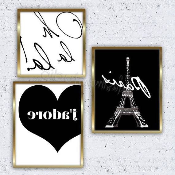 Set Of 3 Paris Prints Paris Decor Wall Decorlulusimonstudio Pertaining To Widely Used Paris Theme Wall Art (View 9 of 15)