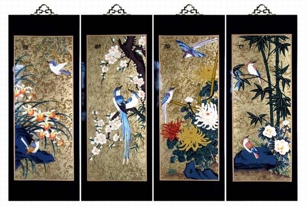 Set Of 4 Oriental Lacquered Painting Wall Art Plaques (Four Seasons) Med Intended For Well Liked Asian Wall Art Panels (View 14 of 15)