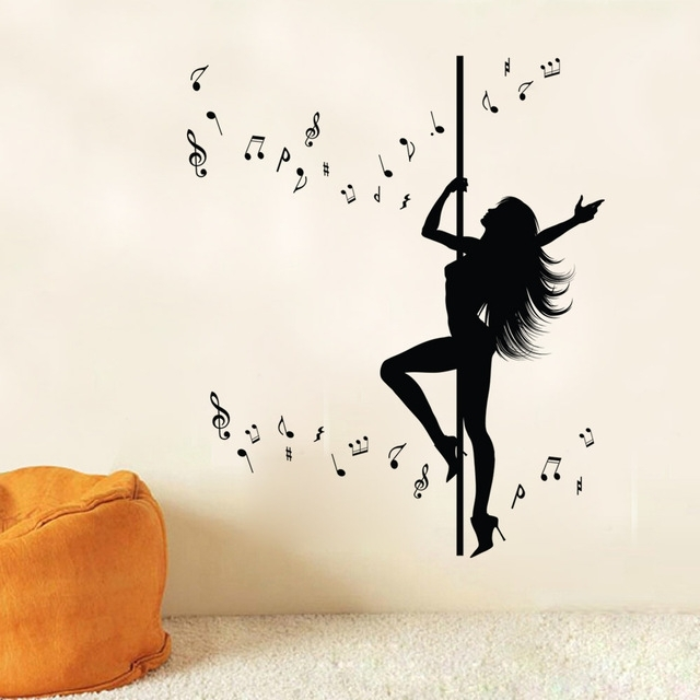 Sexy Girl Pole Dancing Wall Art Mural Decor Sticker Creative Music In Well Known Music Note Wall Art (View 14 of 15)