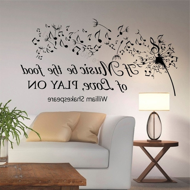 Shakespeare Wall Art Within Famous Aliexpress : Buy Wall Art Sticker If Music Be The Food Of Love (View 8 of 15)