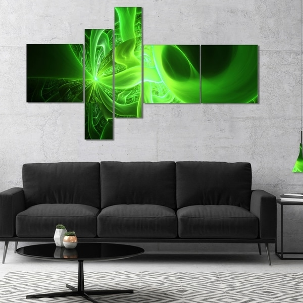 Shop Designart 'bright Green Designs On Black' Abstract Wall Art within Famous Overstock Abstract Wall Art