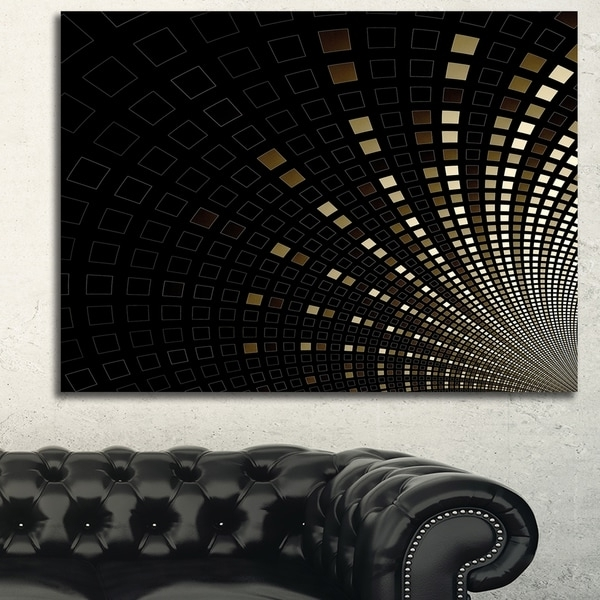Shop Designart 'gold Square Pixel Mosaic On Black' Extra Large With Regard To Widely Used Pixel Mosaic Wall Art (View 12 of 15)