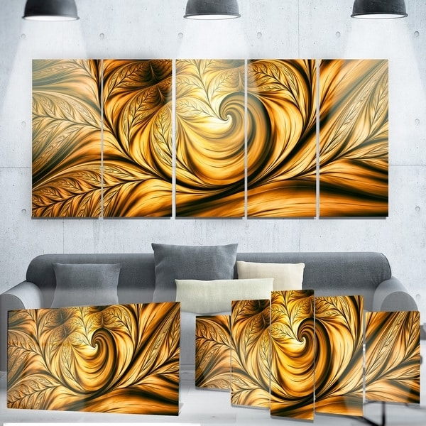 Shop Designart 'golden Dream Abstract' Metal Wall Art – On Sale For Widely Used Abstract Leaf Metal Wall Art (View 5 of 15)