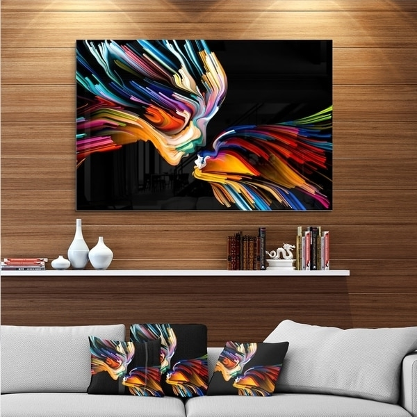 Shop Designart 'kissing Minds Graphic Art' Abstract Metal Wall Art Inside Fashionable Abstract Graphic Wall Art (View 8 of 15)
