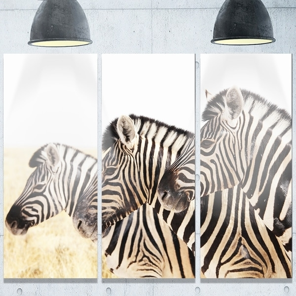 Shop Designart 'zebras In A Row In Grassland' African Metal Wall Art Throughout Best And Newest African Metal Wall Art (View 11 of 15)