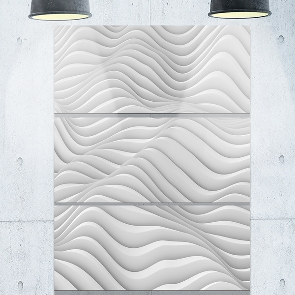Shop Fractal Rippled White 3D Waves – Abstract Art Glossy Metal Wall With Fashionable Waves 3D Wall Art (View 12 of 15)