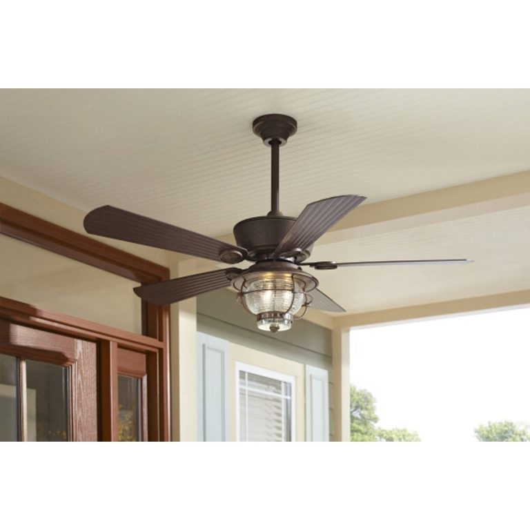 Shop Harbor Breeze Merrimack 52 In Antique Bronze Outdoor Downrod Or Throughout Popular Outdoor Ceiling Fans With Downrod (View 8 of 15)